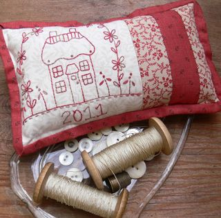 Red cottage pincushion 2